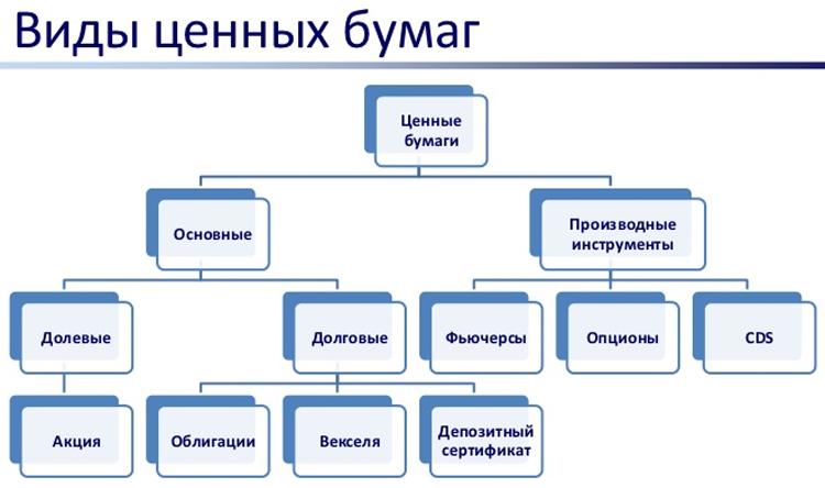 Виды ценных бумаг и их характеристика таблица